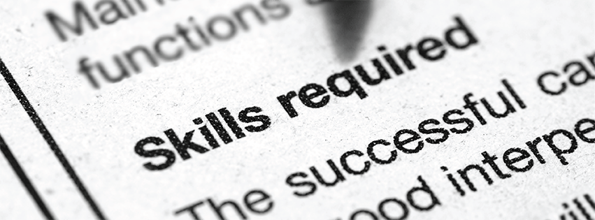 "Close-up of text that says ""skills required""."