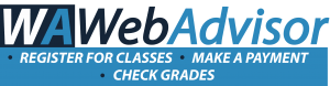 "WebAdvisor logo with text ""register for classes, make a payment, check grades"""