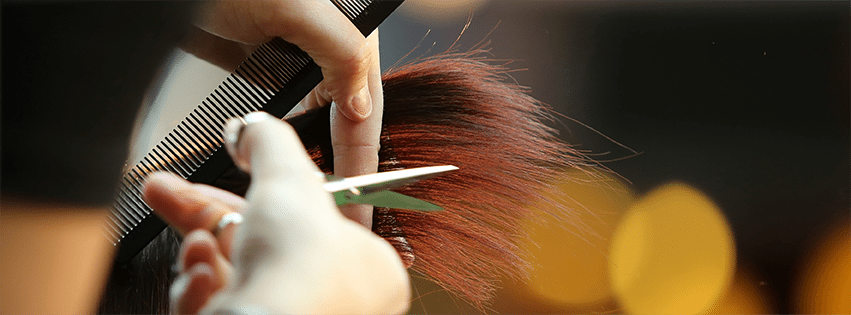 Close-up of cosmetology student cutting hair with scissors.
