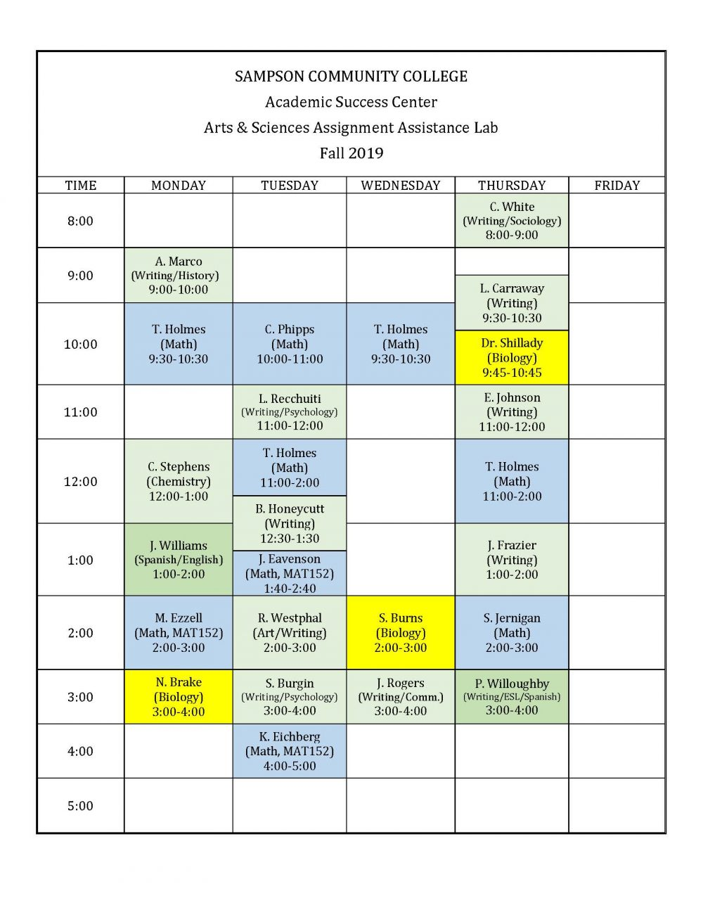 Arts & Sciences Assignment Assistance Lab Schedule