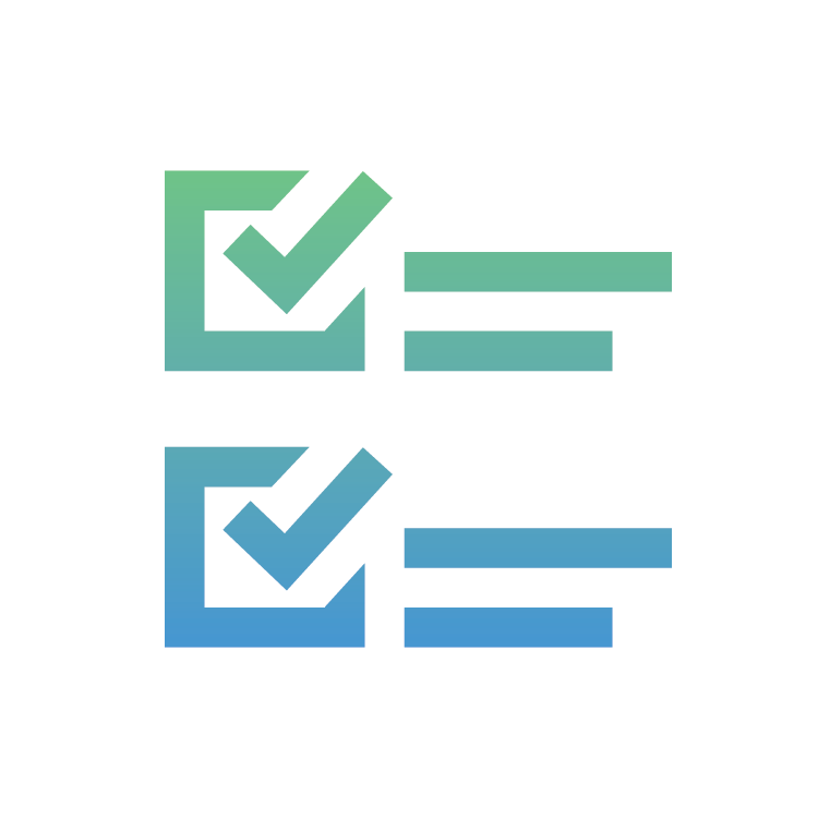 Gradient check box icon to indicate a checklist