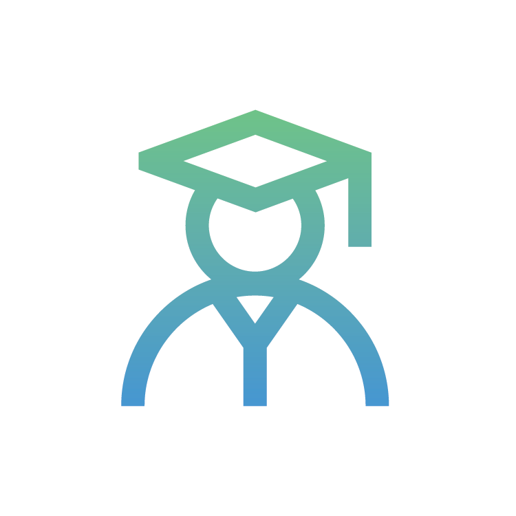 gradient icon of graduate with graduation cap