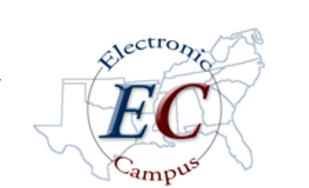Electronic campus logo over southeastern us map.