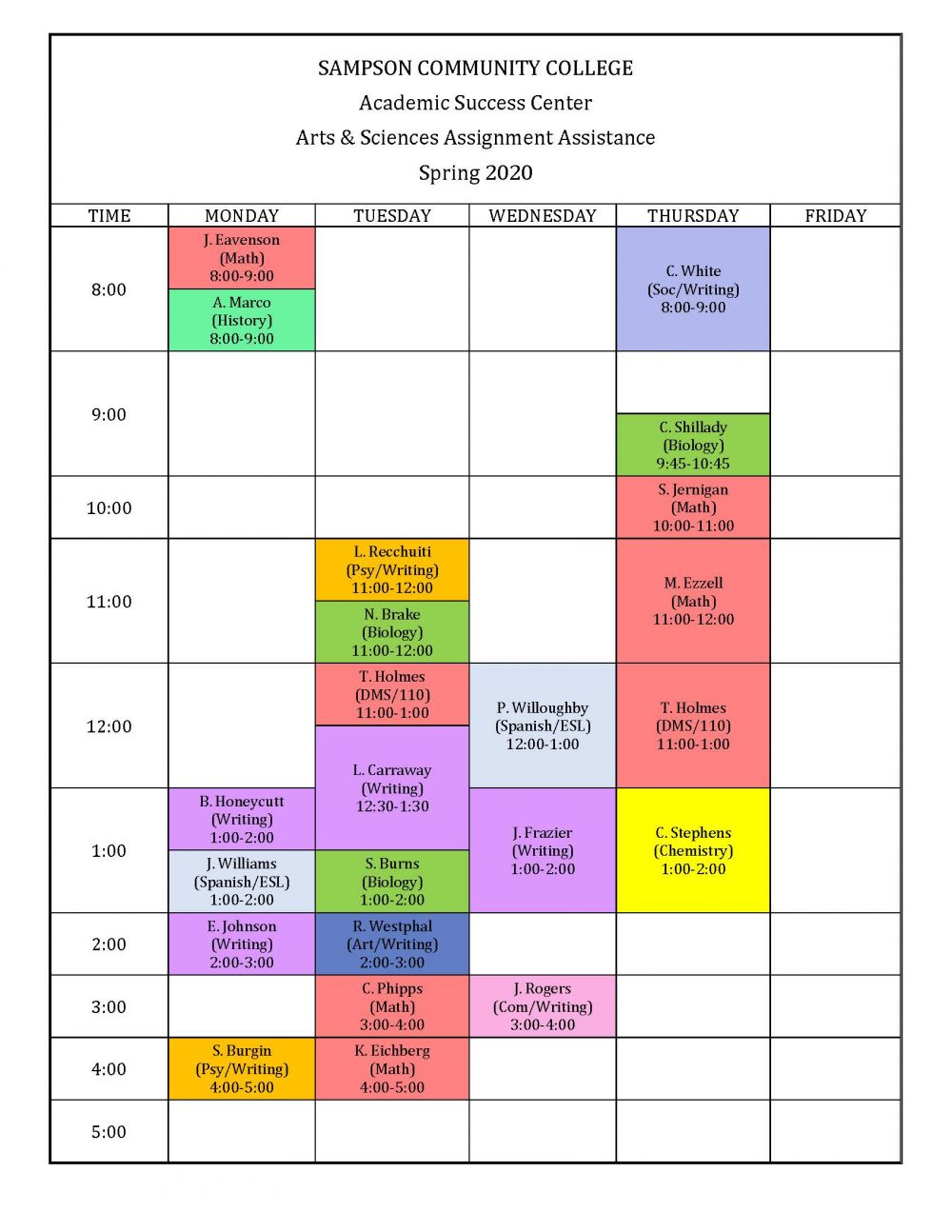 Academic Success Center Professional Tutoring Schedule for Spring 2020